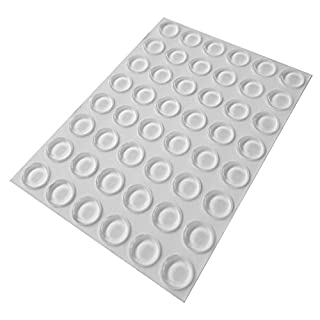 48 Clear Self Adhesive Flat Rubber Feet, Bumper Stops for Coasters, Furniture, Glass, Cabinets, Crafts - 10.2mm x 1.9mm