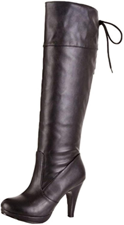 Nonbrand Damen Blockabsatz synthetischer Mitte Kalb Stiefel