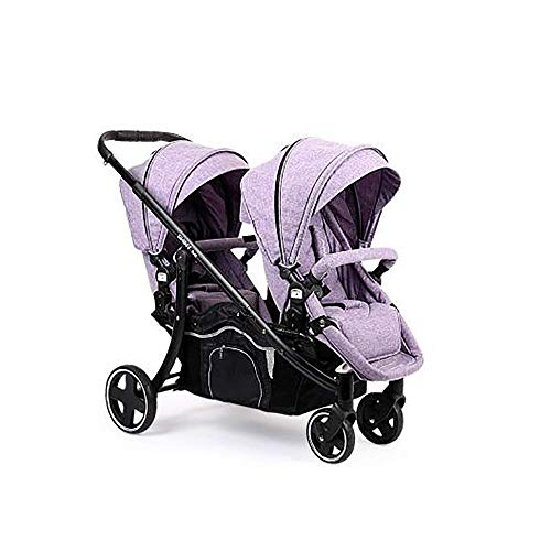 Baby Twin Stroller,Babyfond Folding Tandem Pushchair Double Rotation Two-Way Split Sit and Lie Light Baby Umbrella Car Twins Pram for Newborn (Violet)