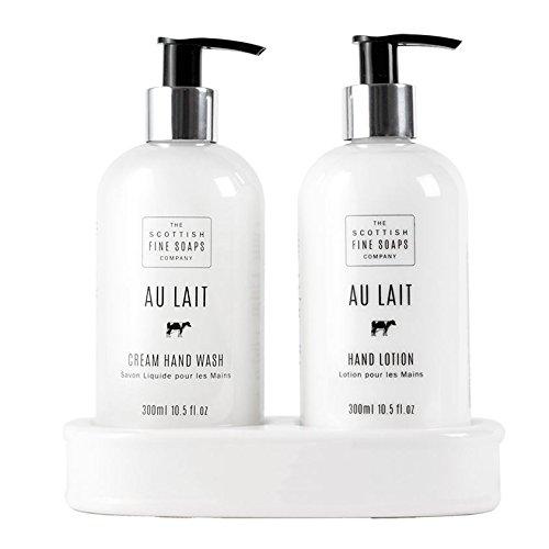 Scottish Fine Soaps Au Lait Hand Care Set (Hand Wash, Lotion & Blank Ceramic Bottle Stand) -