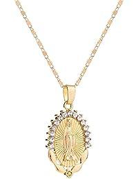 e330f0337f5a Ever - Collar con Colgante de Amuleto Chapado en Oro y Plata con circonita  cúbica