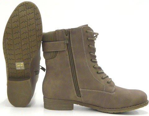 Sportliche Damen Stiefelette Robuste Outdoor Boots Beige