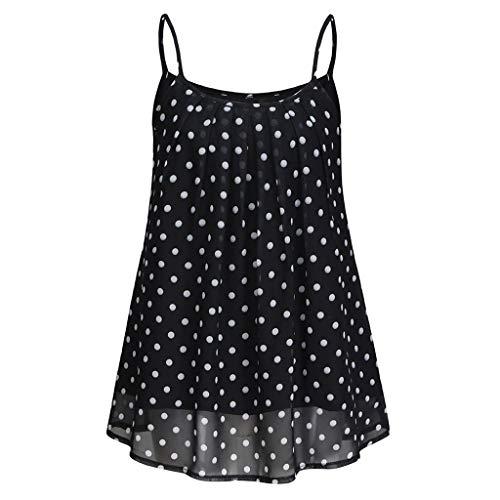CRRE Damen Tank Top Chiffon Oberteil Sommer Frauen ärmellose Hosenträger Dot Printed T-Shirt Tops Chiffon Bluse -