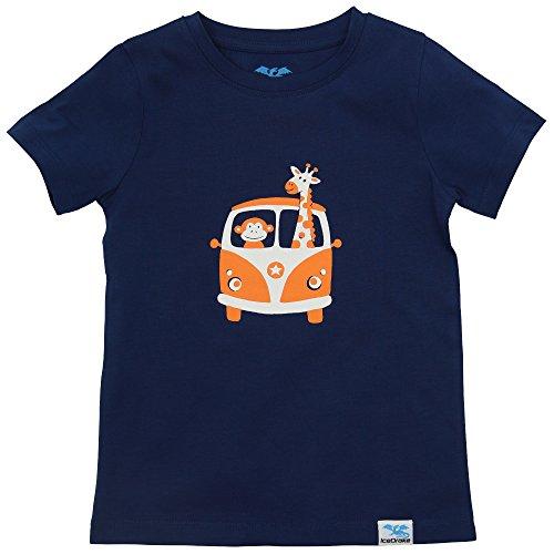 IceDrake Kinder T-Shirt für Mädchen und Jungen mit Affe, Giraffe (Dunkelblau) Aus Bio Baumwolle GOTS Zertifiziert (Für E Got)