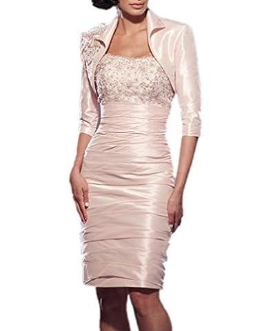 Royaldress Elegant Geraft Satin Bolero Abendkleider Hochzeitskleider Brautmutter Partykleider Knie-lang -46 Hell rosa