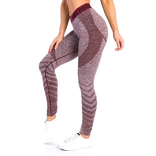 SMILODOX Sport Leggings Damen 'Vira' | Seamless - Figurformende Tight für Fitness Gym Yoga Training & Freizeit | Sporthose - Workout Trainingshose, Größe:M, Farbe:Bordeaux
