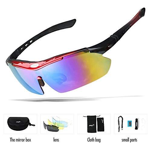 WLCLJJ Polarisierte Radfahren Brille Outdoor MTB bergbrille Brillen Fahrrad Sonnenbrille Fahrrad Sport Sonnenbrille myopie 5 objektiv (Color : Red, Lenses Color : Multi)