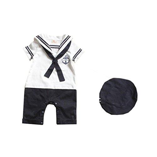 Internnet Baby Strampler Mütze Baumwolle kurze Ärmeln Navy verbunden Matrosenanzug (80, weiß) (Hübsche Kleider Für 10 Jährigen)