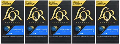 L'Or Espresso Café Decaffeinato - Intensité 6 - 50 Capsules en Aluminium Compatibles avec les Machines Nespresso* (Lot de 5X10 capsules)