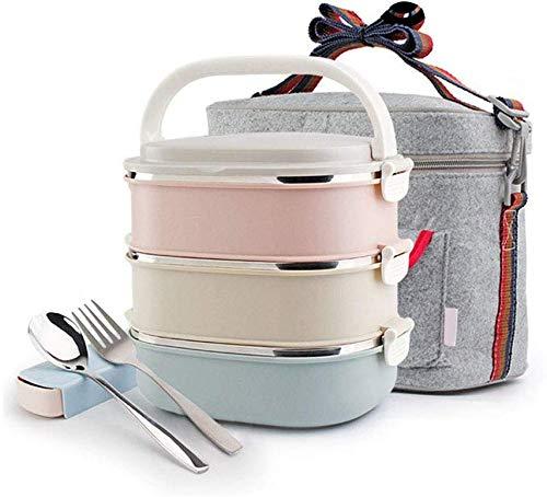 Barattolo di cibo con isolamento termico, acciaio inox a grande capacità a prova di perdite barilotto di isolamento 3 strati con sacchetto di isolamento + stoviglie per bambini adulti