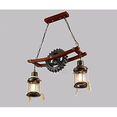 Vintage in legno metallo WheelShaped 2luci lampadario