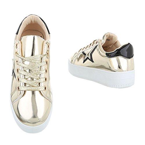 Low-Top Sneaker Damenschuhe Low-Top Sneakers Schnürsenkel Ital-Design Freizeitschuhe Gold