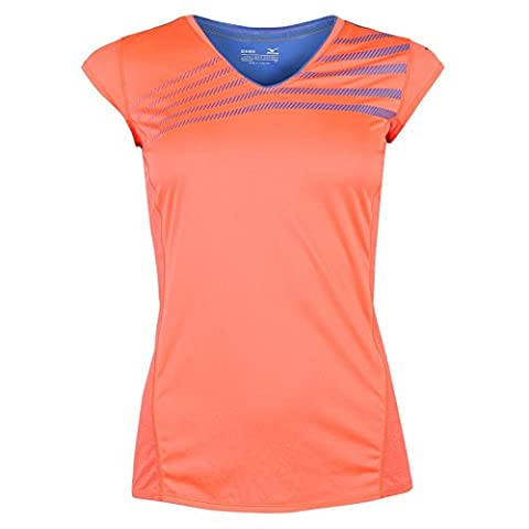 Mizuno Femme Aero T-Shirt Tee Top Haut Sport Running Sport Manche Courte Col V Coral/Bleu 8 (XS)