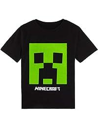 Minecraft Camiseta Niño, Ropa Niño Algodon 100%, Camisetas con Personaje Creeper En Color Negro, Regalos para Niños y Adolescentes Edad 5-14 Años