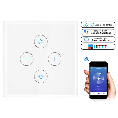 Konesky Interruptor inteligente para ventilador de techo Control de interruptor de pared...