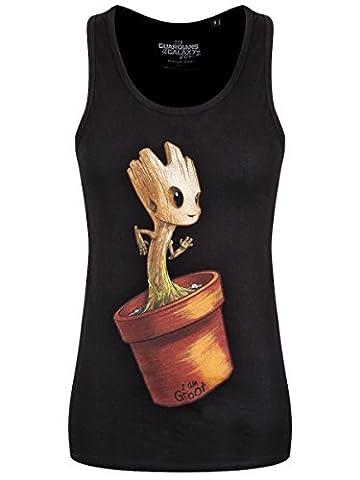 Guardians of the Galaxy Damen Tank Top Dancing Baby Groot Marvel schwarz Baumwolle - L