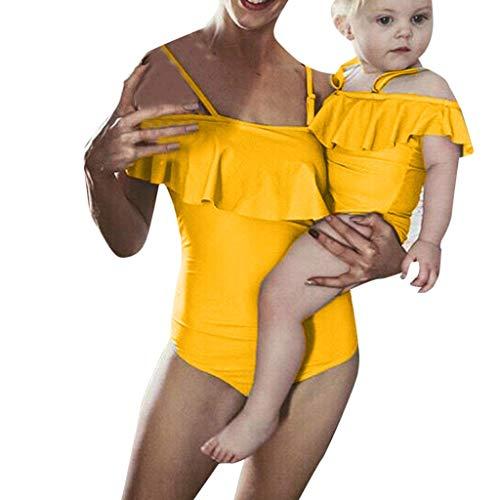 Storerine Einteiliger Badeanzug-Bikini-Mutter-Frauen-Anzug der Frauen mit Einem Rüschen einfarbig Bademode(Weiß, Rosa, Gelb, ()