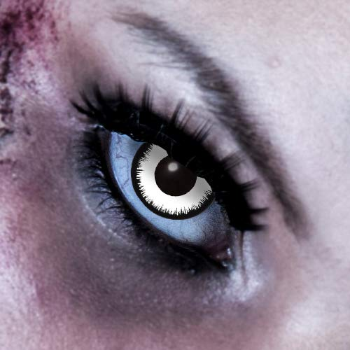 King of Halloween kontaktlinse Weiß ohne Sehstärke Angelic 3 Monats Halloween Kontaktlinsen Zombie, Vampir Halloween Make up Halloween Schminke (Filmhelden Kostüm)