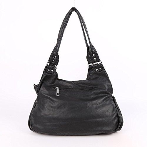 Angelkiss 2 Top Cerniere di chiusura tasche multiple Borse Lavato borse in pelle a tracolla borse XS161259 Nero