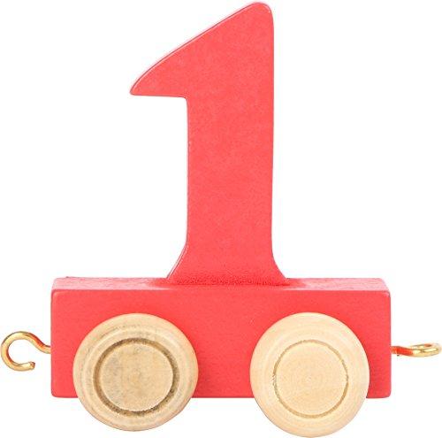 Buchstabenzug | Geburtstags Zahlen und Waggon mit Kerzenhalter | Holzeisenbahn | EbyReo® Namenszug aus Holz | personalisierbar | Geburtstag oder als Deko für den Geburtstagstisch (01 Zahl 1) (Zahlen Holz-buchstaben)