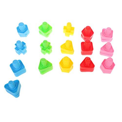 Kerhcusde 32 STÜCKE Schrauben & Muttern Montessori Schraube Bausteine   Kunststoffeinsatz Blöcke Mutter Form Spielzeug Lernspielzeug Mädchen Baby Spielzeug Kleinkind Säuglingsspielzeug -