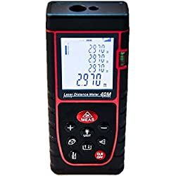 DAXGD Misuratori di distanza laser digitale portatile 40m con livella a bolla, Gamma di misurazione ad alta precisione e ampio display LCD retroilluminato per misurare distanza, area e volume