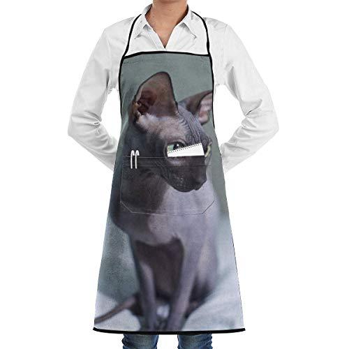 work apron Hairless Cat Sphynx Aprons Bib for Mens Womens Server String Adjustable Adult Kitchen Waiter Schürzen mit Taschen 1850 Server
