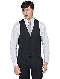 DKNY Men`s Slim Fit Charcoal Pindot Waistcoat