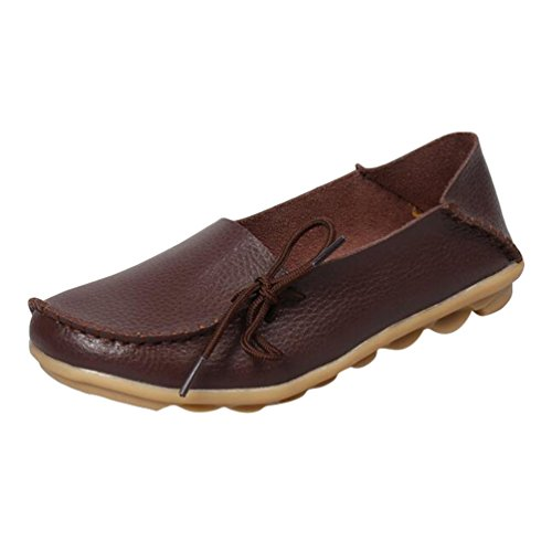 Heheja Mocassins Femmes Loisirs Confort Chaussures Plates Loafers Chaussures de Conduite Café