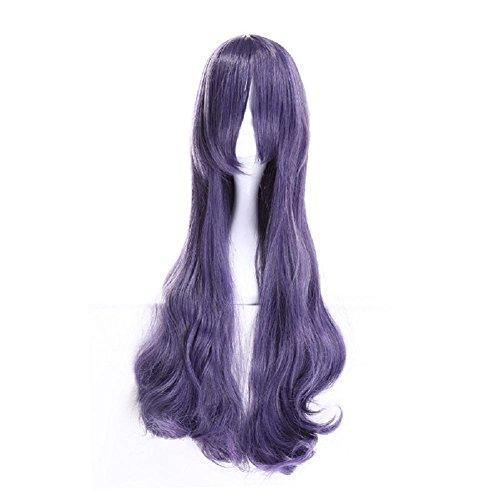 Halloween Cosplay Wave Lila Perücken Full Head Langes Haar Perücke Hochtemperatur Fiber Haar für Frauen Cosplay Party Fancy (Make Up Kostüm Witwe Schwarze)