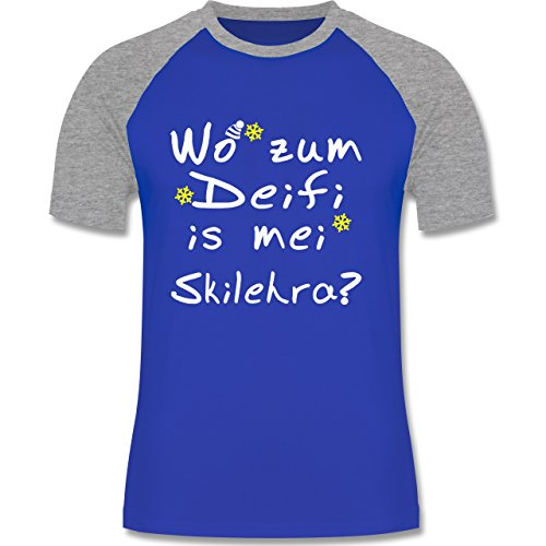 Shirtracer Wintersport - Wo Zum Deifi is MEI Skilehra - Herren Baseball Shirt Royalblau/Grau meliert