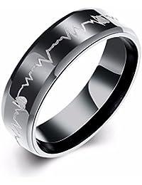 NEVI Heart Beats In Heart Stainless Steel Black Plated Ring for Women ,Girls, Boys & Men