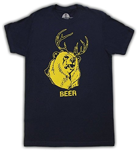 Beer Bear+Deer Mac Navy Adult T-shirt Tee (Large) (Funny Adult Tee T-shirt)