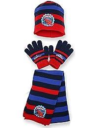 Jungen Disney Offiziellen Lizenz Spiderman Handschuhe, Beanie Mütze & Schal Set One size 4-10 Jahre