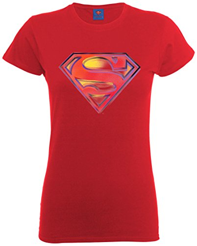 DC Universe Damen Comics Official Superman Stencil Logo Womens T-Shirt  Kirschrot