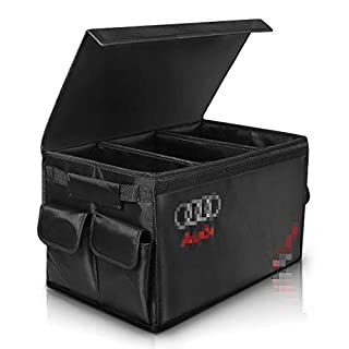 AUTOPRE MODIFY Car Trunk Organiser, Car Boot Tidy organiser, Collapsible Cargo Storage Container with Side Pockets, Portable Multi Compartments for Car, Waterproof - Black