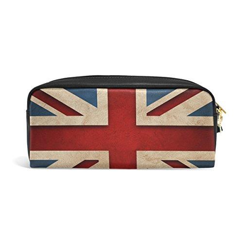 zzkko Vintage Union Jack Flagge Leder Reißverschluss Federmäppchen Pen Stationäre Bag Kosmetik Make-up Bag Tasche Geldbörse - Britische Möbel