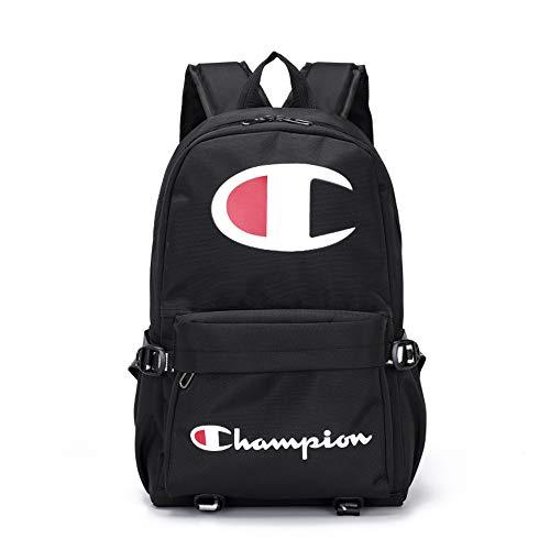 Champions_ ucksack Rucksack Tasche Laptoptasche Sporttasche Canvas Rucksack (Black White) (Schwarz Champion Oxford)