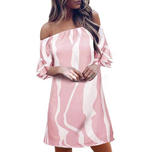 AMUSTER Damen Off Shoulder Kleid Schulterfreies Cocktailkleid Jerseykleid Sommerkleid Gestreiftes Kleid Party Evening Mini Kleid
