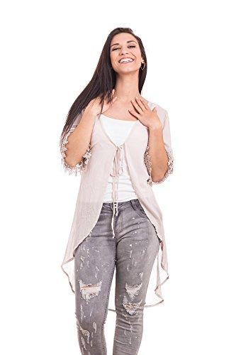 Abbino Larissa Damen Jacke - Made in Italy Cape Umhang Offene Knielang Hüftlang Freizeit Frühjahr Sommer Uni Unifarbe Ohne Verschluss Sale Damenjacke Damenjacken Lässig Sexy Festlich -6 Farben Rosa