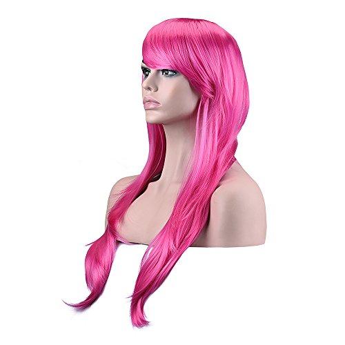 70cm perruque Long bouclés ondulés perruque cosplay costume Cheveux Femme lampées cosplay perruque pour nos perruques de costume (Rose)
