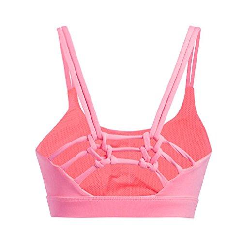 HAPPYMOOD Reggiseno sportivo donna Incrocio di allenamento ad alto impatto Imbottito In esecuzione Reggiseno yoga Fitness Abbigliamento da palestra Pink