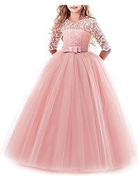 Vestido de niña de flores para la boda Princesa Largo Gala Encaje De Ceremonia Vestidos de Dama De Honor Fiesta Tul…