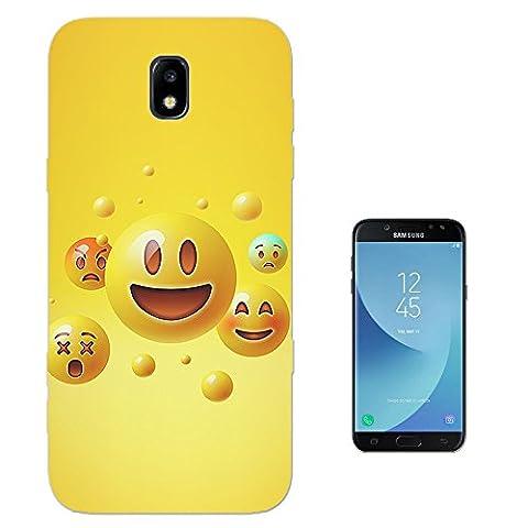 003585 - Funny Smiley Faces Emojis Design Samsung Galaxy J3 2017 (EU Version) Fashion Trend Protecteur Coque Gel Silicone protection Case Coque