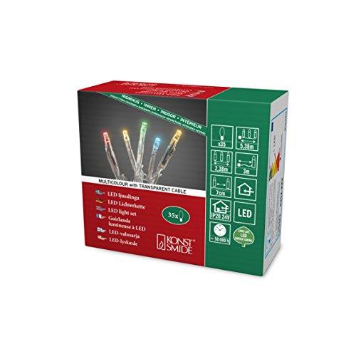 Konstsmide 6352-523 Micro LED Lichterkette / für Innen (IP20) / 35 bunte Dioden / 24V Innentrafo / transparentes Kabel