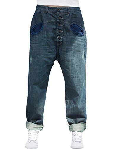 Youlee Damen Elastische Taille Haremshose Baumwolle Jeans L