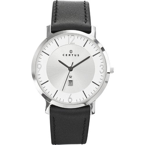 Certus 610948–Watch Men–Quartz Analogue–Silver Dial–Black Leather Strap
