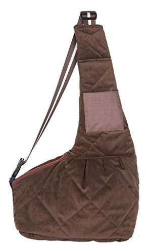 evergreens-waterproof-quilted-short-plush-pet-dogs-sling-carrier-bag-brown-s