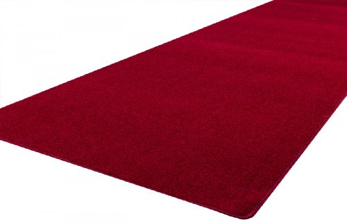 Velours Teppich Läufer Trend Rot nach Maß - versandkostenfrei schadstoffgeprüft pflegeleicht antistatisch schmutzresistent robust strapazierfähig Flur Diele Treppenhaus Eingang Wohnzimmer Küche Büro , Größe Auswählen:80 x 200 cm