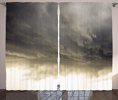 ABAKUHAUS Grau Rustikaler Vorhang, Bewölkter dunkler Himmel-Hurrikan, Wohnzimmer Universalband Gardinen mit Schlaufen und Haken, 280 x 260 cm, Grau -